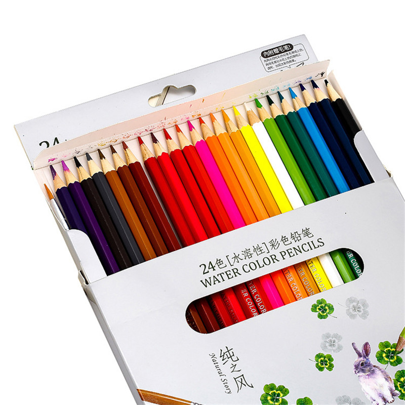 48/36/24/12 Water Color Crayon Pencil Set School Stationery Store Watercolor Pastel Aihao Drawing Sketch Pen Colour Art Supply 12pcs candy color cute pencil hb 2b school stationery store student kids triangle graphite drawing sketch wood pen office supply