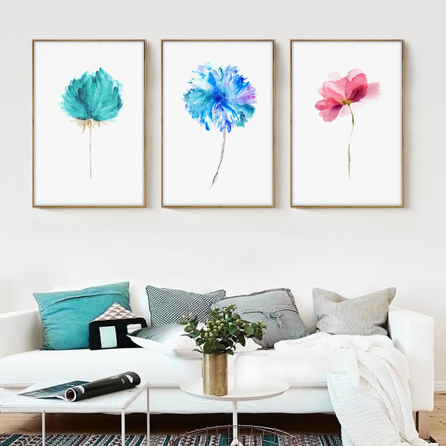 Modern watercolor beautiful plant floral flower rose a4 canvas art print nordic posters wall