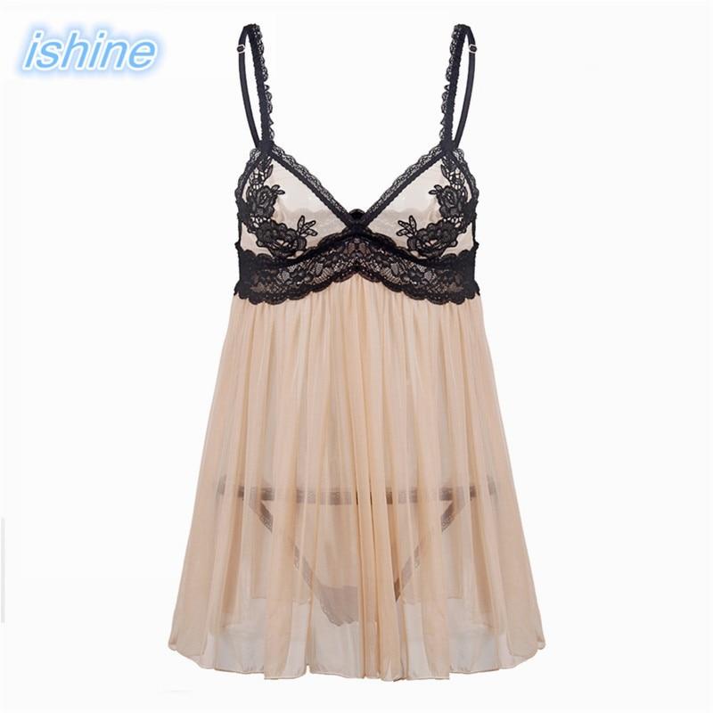 2017 New Lace Sexy Nightgowns Sleepshirts Sleepwear Women Night Dress Sexy Embroidery Lingerie Babydoll Women Summer Nightwear