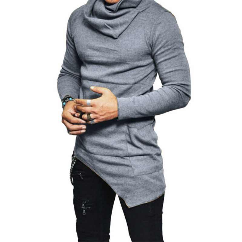 Novo outono primavera masculina mangas compridas magro camiseta casual moda masculina fina camisa de gola alta sólida irregular topos camiseta pulôver