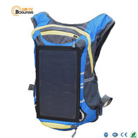 BOGUANG 6.5W 5v solar panel Built-in Embedded blue Polyester backpack USB charger for mobile phone outdoor camping travel