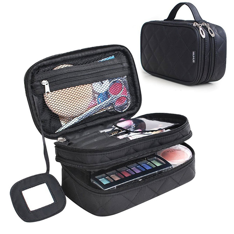 2 Layer Zipper Travel Kits Cosmetic Make Up Organizer Bag Women Multifunctional Cosmetic Bag Makeup Brush Bags With Mirror