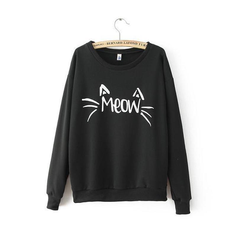 Meow Cat Ears Cute Hoodies Sweatshirts 2019 Women Casual Kawaii Harajuku New Sweat Punk For Girls Clothing Tops Korean