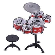 Детский набор для джазовых барабанов, Музыкальный обучающий инструмент, 5 барабанов+ 1 тарелка с маленьким стулом, барабанные палочки для детей