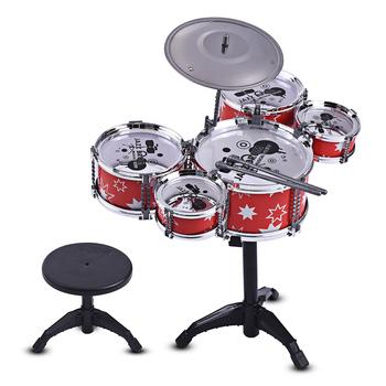 Zestaw perkusja jazzowa dla dzieci zestaw muzyczny Instrument edukacyjny zabawka 5 bębnów + 1 talerz z mały taboret pałeczki do perkusji dla dzieci tanie i dobre opinie Konwencjonalne gumy typu tablica elektroniczna 10 cal 5-drum kit 20 * 11cm 7 9 * 4 3in Drum Set ammoon Plastic A+++