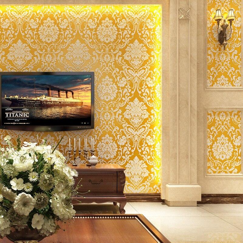Cheng Shuo Damascus nonwoven flocking 3D European wallpaper background TV shop|Wallpapers|Home Improvement - title=