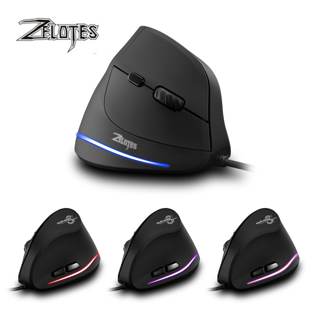 ZELOTES T 20 Vertical Wired Mouse USB Programmable 6 Buttons Optical LED Mice Desktop PC 3200DPI Adjustment 3D Gaming Mouse-in Mice from Computer & Office