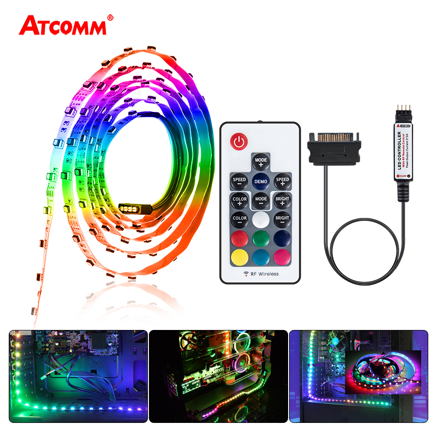 SATA Interface RGB LED Strip Light SMD 2835 3535 5050 60 LEDs/m Diode Tape Full Kit RF Wireless Controller For Computer Case