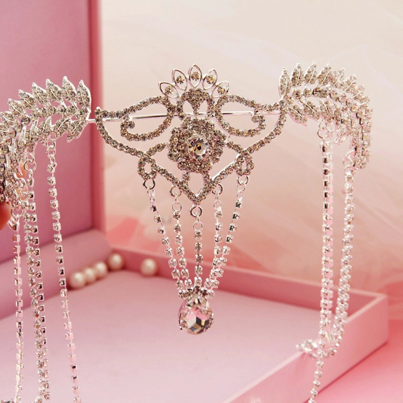Headpiece Bridal Tiara Rhinestone Crystal Hair Crown Vintage Wedding Head Jewelry Accessories forehead headbands Frontlet ожерелье bride makeup frontlet