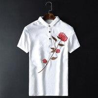 China Wind 2016 Mens Short Sleeved T Shirt Embroidered Rose Korean Slim Thin Jacquard Shirt Wholesale