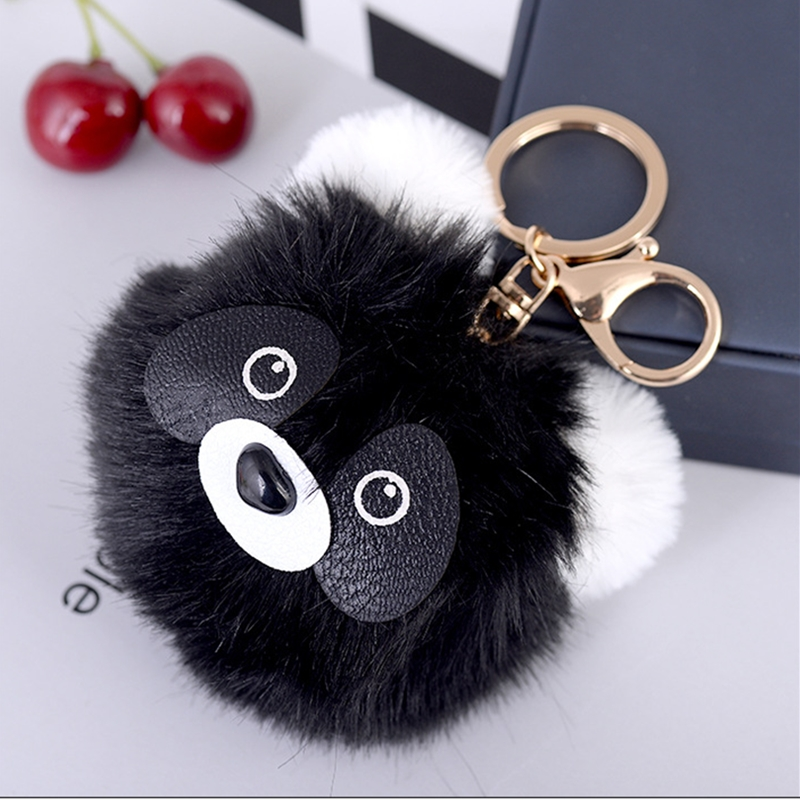 Fluffy Cute Panda Faux Rabbit Fur Ball Keychain Women Monster Bag Charm Llaveros Mujer Chaveiro Key Ring Holder Jewelry Gifts in Key Chains from Jewelry Accessories