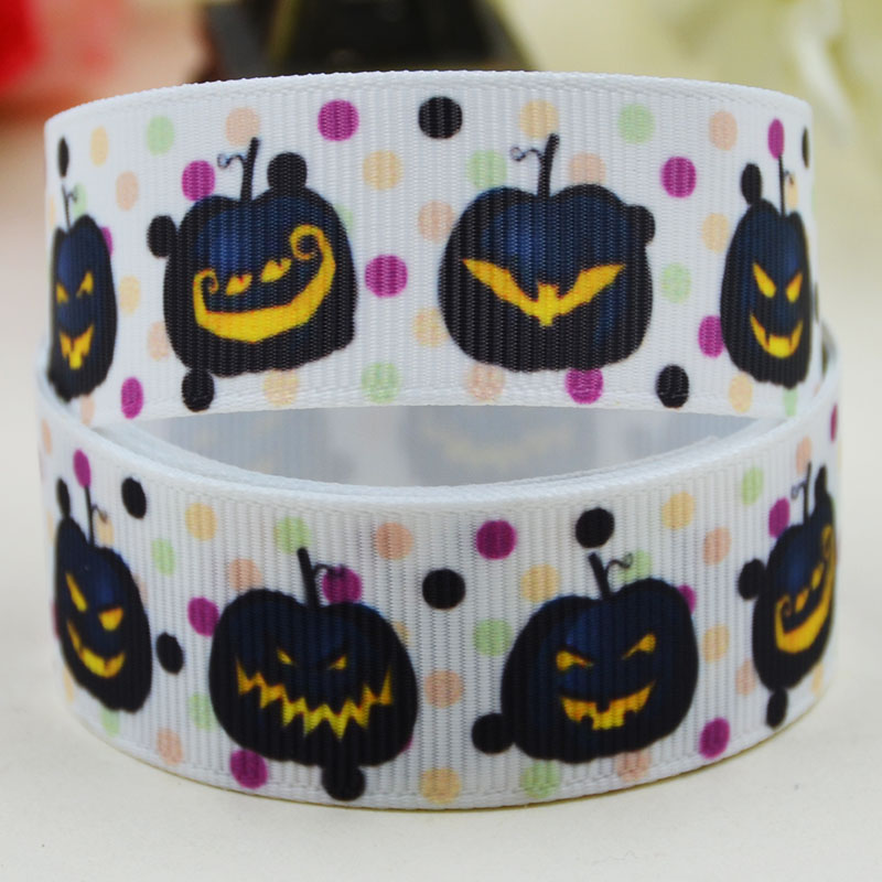 <font><b>7/8</b></font>'' (22mm)<font><b>Halloween</b></font> Character printed <font><b>Grosgrain</b></font> <font><b>Ribbon</b></font> party decoration satin <font><b>ribbons</b></font> X-02188 OEM 10 Yards image