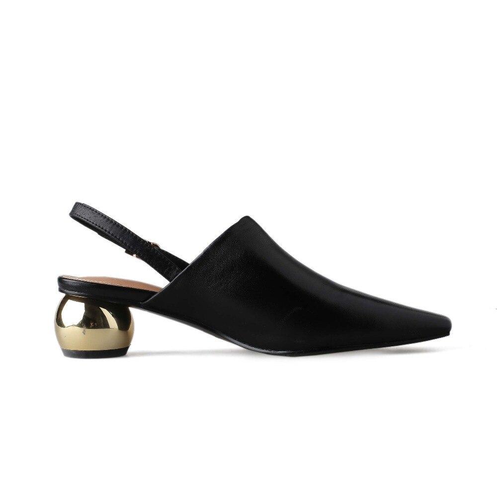 Lenkisen luxe schapen lederen gesp riem metalen med hakken slingback vrouwen pompen vierkante neus elegante dame modeshow schoenen L65-in Damespumps van Schoenen op  Groep 3