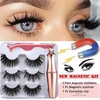 3 Pairs Magnetic Eyelashes With 1Pc Magnetic Eyeliner and Eyelashes Tweezer 1