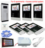 For 6 Apartments Home Intercom Door Video Call Color 4.3Lcd Door Phone 6 Buttons Outdoor Camera With Rfid Keypad Access Control