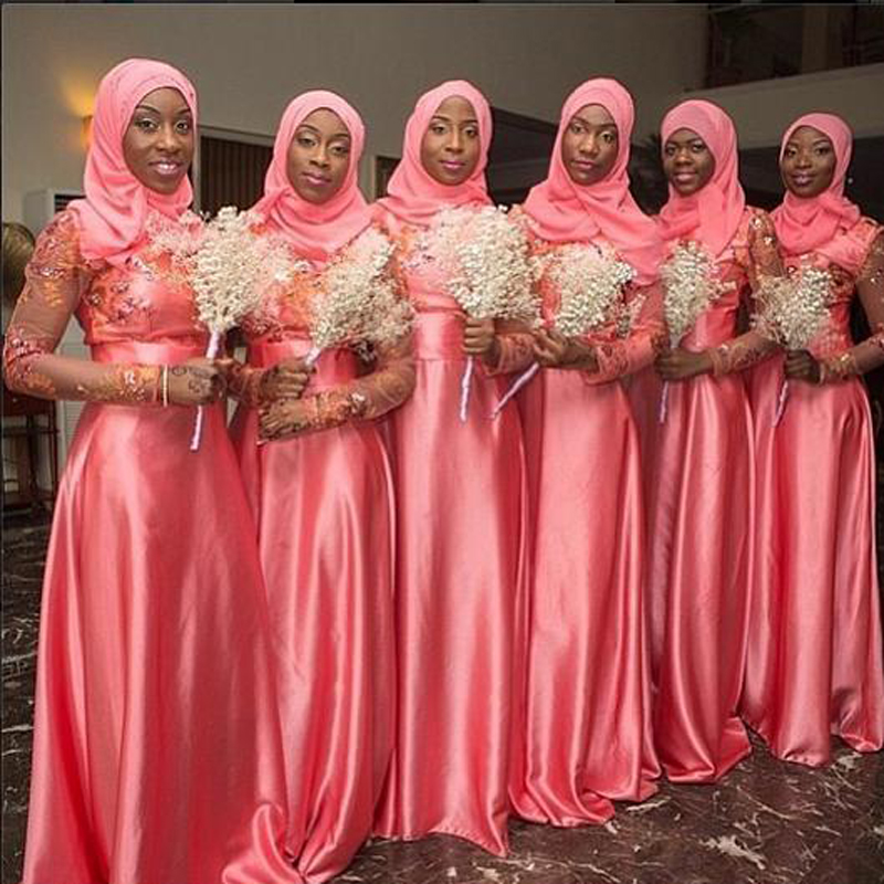 Muslim Bridesmaid Dresses with font b Hijab b font Long Sleeves Saudi Arabia Wedding Party Dress