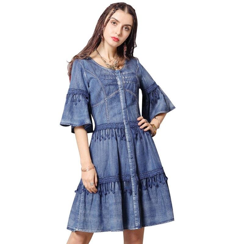 05105bb1e6f Robe Jeans 2019 Flare Femmes Longueur Gland D été Denim Genou Vintage  Manches Bleu Robes Dame zpSMVqU