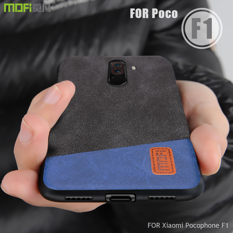 Pocophone F1 case cover MOFI for xiaomi Pocophone F1 Global Fabric Leather Back Cover Case Poco F1 Full Cover frosted Case 6.18'