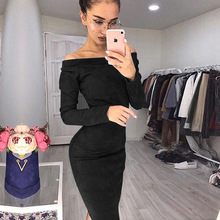 Women New Dress Spring Autumn Long-sleeve Pullovers Woman Mid-calf Sexy Party Dresses Europe Elegant Fashion Style Office Lady