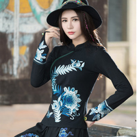 2018 Spring Summer Embroidery National Wind Large Size T Shirt Women Ethnic Style Authentic Long Sleeve
