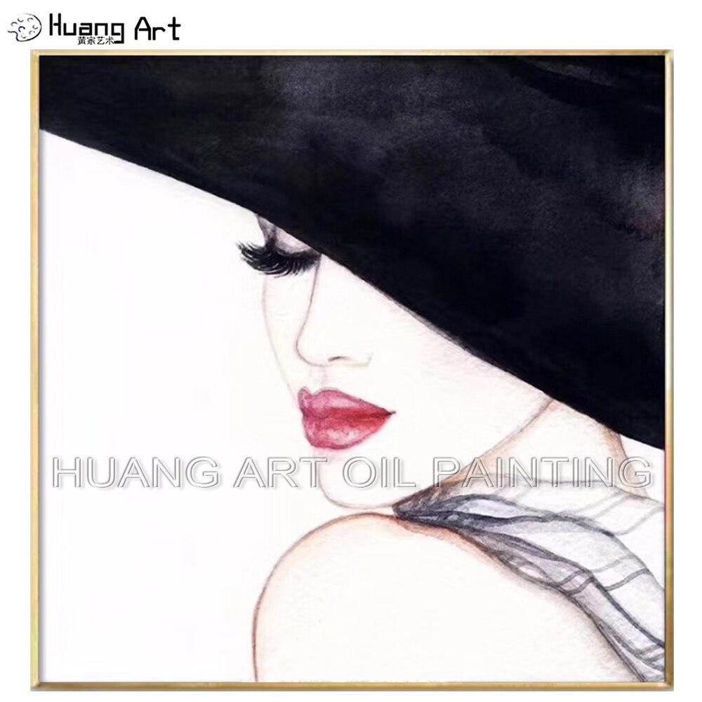 Top artiste peint à la main élégant dame Portrait peinture à l'huile moderne beau chapeau femme peinture à l'huile pour décor à la maison Figure photo