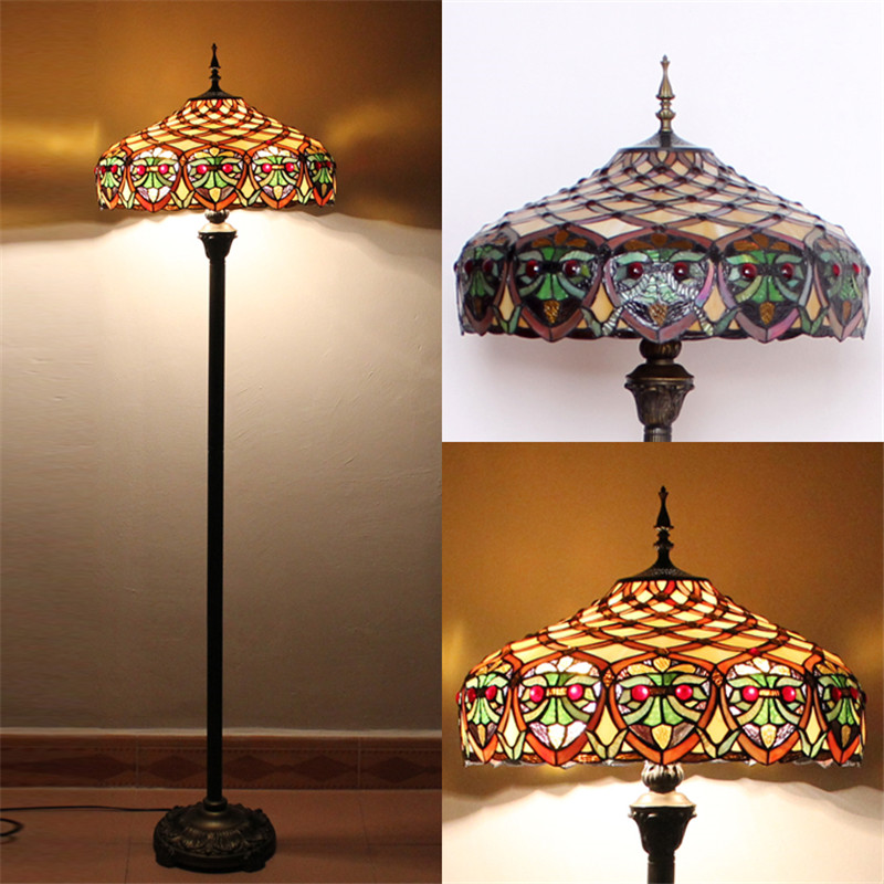 FUMAT Glass Art Floor Lamp Stained Glass Maple Leave Peacock Baroque Stand  Lampe Living Room Hotel Bar Decor Light Fixtures In Table Lamps From Lights  ...