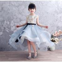 2019 New Kids Girl Lace Tulle Princess Dress Children Sequins Trailing Prom Gown Teen Girl Bow Birthday Wedding Party Dress Q449
