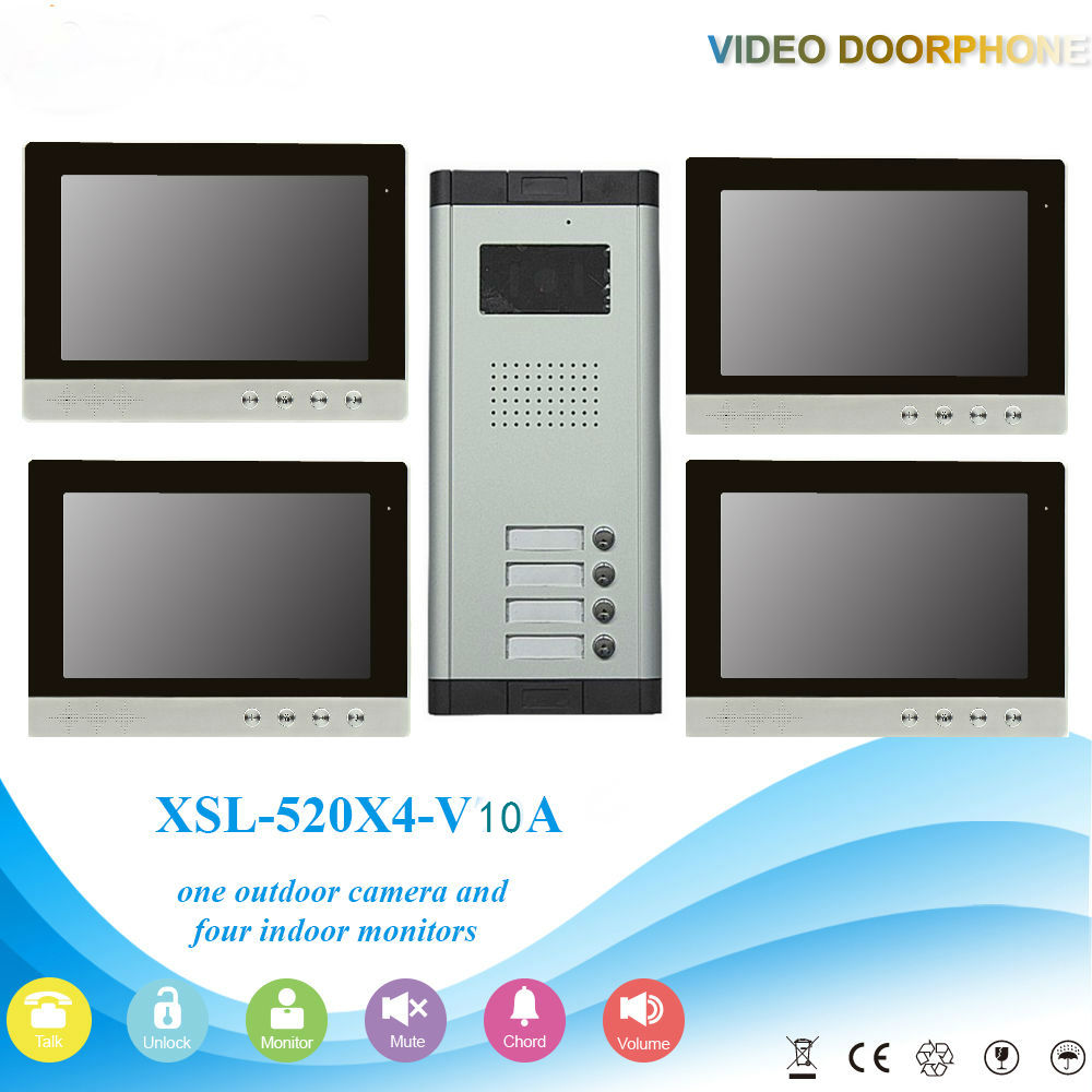 Yobangsecurity Видеодомофоны Мониторы 10-дюймовый видео Дверные звонки Камера Системы домофон доступа Системы для 4 единицы квартира