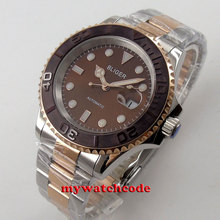 40mm Bliger brown dial ceramic bezel date window automatic mens unsex watch 59