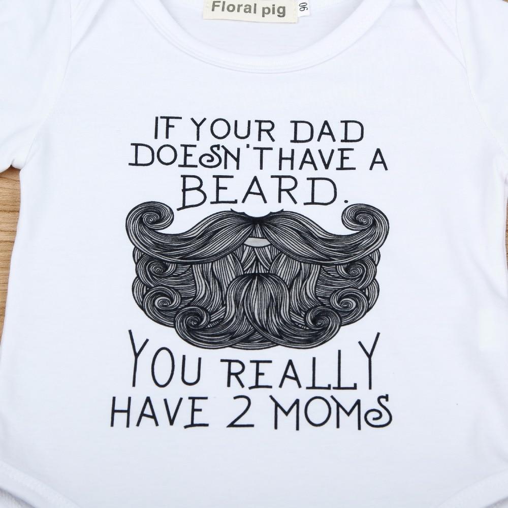 2018 Baby White Onesie Funny Beard Pattern Als je vader geen baard - Babykleding - Foto 2
