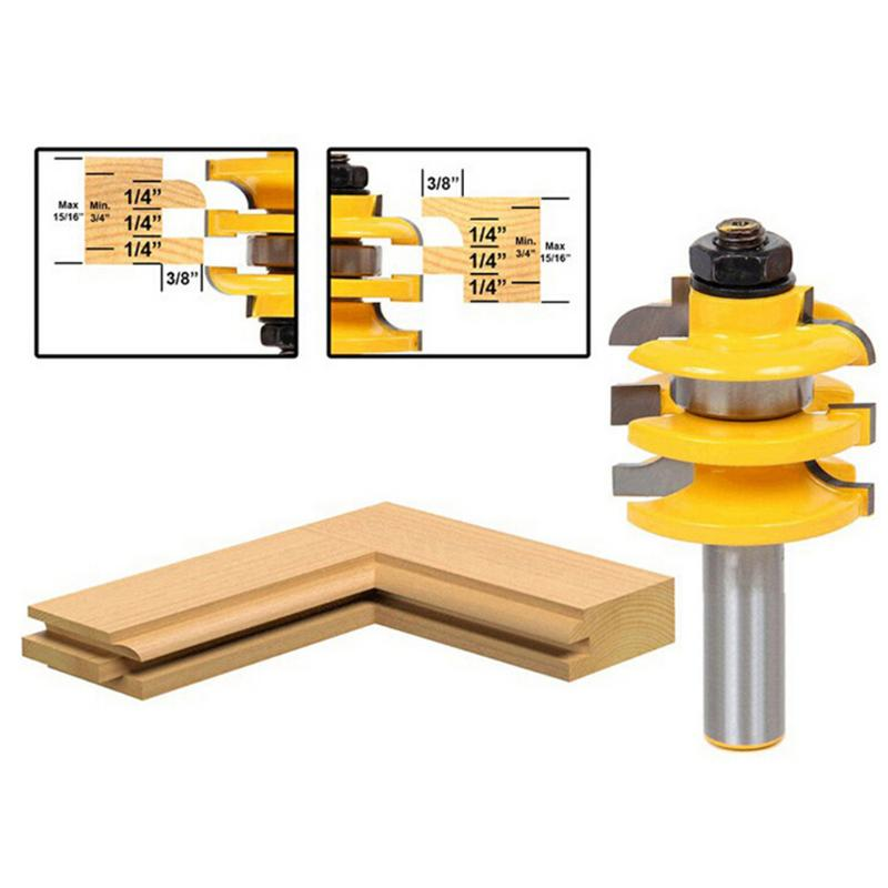 1/2 Shank Woodworking Cutter Stacked Rail Stile Router Bit Home Wood Cutting Accessories high grade carbide alloy 1 2 shank 2 1 4 dia bottom cleaning router bit woodworking milling cutter for mdf wood 55mm mayitr