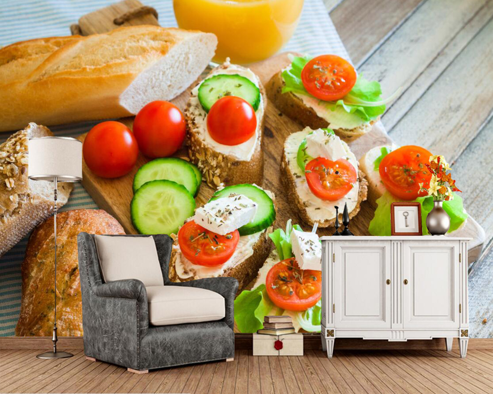 Fast food Bread Tomatoes Cucumbers Food wallpaper papel de parede,living room tv sofa wall kitchen restaurant bar 3d mural fast food leisure fast food equipment stainless steel gas fryer 3l spanish churro maker machine