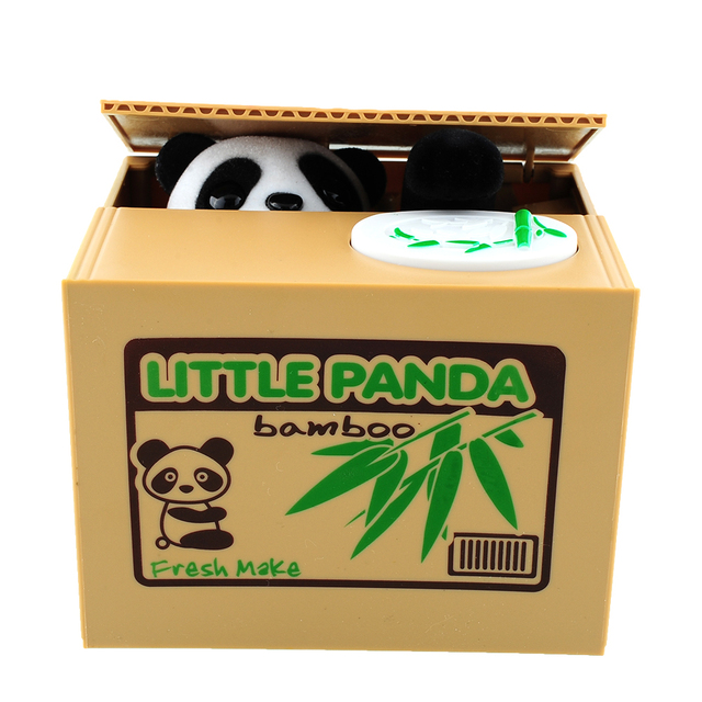Itazura Automatic Stealing Coin Panda Kitty Coins Penny Cents Piggy Bank Saving Box Money Box Kids Child Gift
