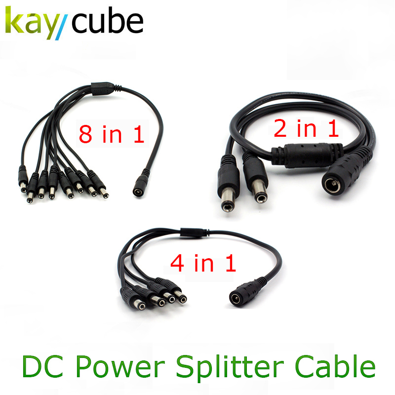 1 Female To 2/ 4 8/ Male Port DC Power Pigtail Splitter Cord Cable For CCTV Camera LED 5.5*2.1mm 42 In 1 / 4 In 1 / 8 In 1 DC