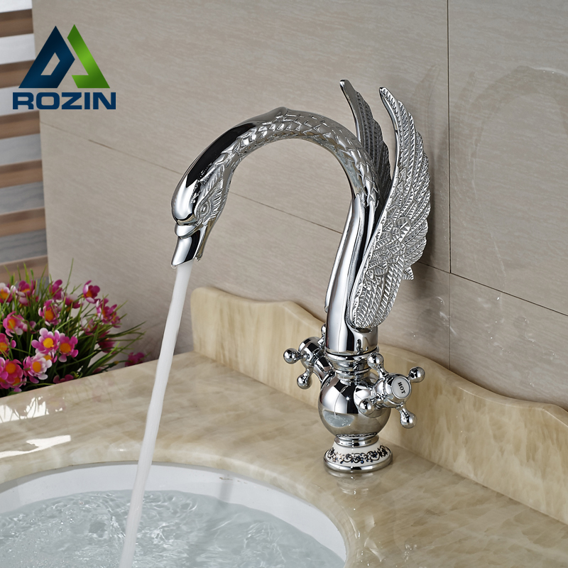 цена на Dual Cross Handles Bathroom Basin Vessel Sink Faucet Deck Mount Swan Shape Mixer Taps Chrome Finish