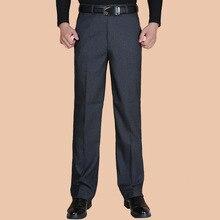 Модные Для мужчин Брюки Демисезонный классический Бизнес плюс Размеры 20-40 Повседневное прямые брюки Брюки Для мужчин Pantalon Hombre