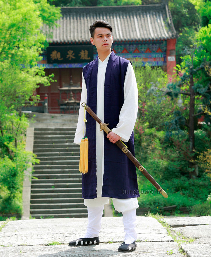 Custom Make 24 Colors Long Vest för Tai Chi Uniform Shaolin Monk Kung Fu Wing Chun Taoist Martial Arts Suit