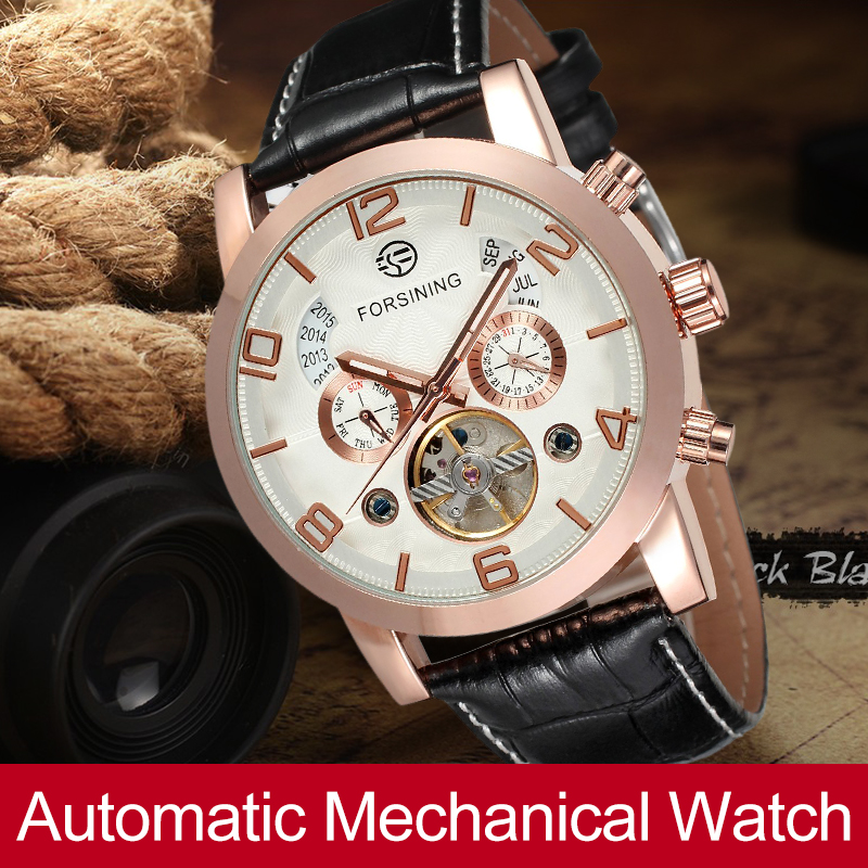FORSINING Automatic Mechanical Watch Men Business Tourbillon Watches Gift for Mens Genuine Leahter Band FSG165M3G1 forsining automatic tourbillon men watch roman numerals with diamonds mechanical watches relogio automatico masculino mens clock