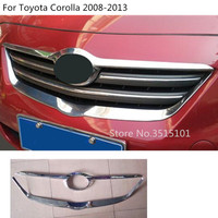 car ABS chrome trim Front up head racing Grid Grill Grille panel 2pcs For Toyota Corolla Altis 2008 2009 2010 2011 2012 2013