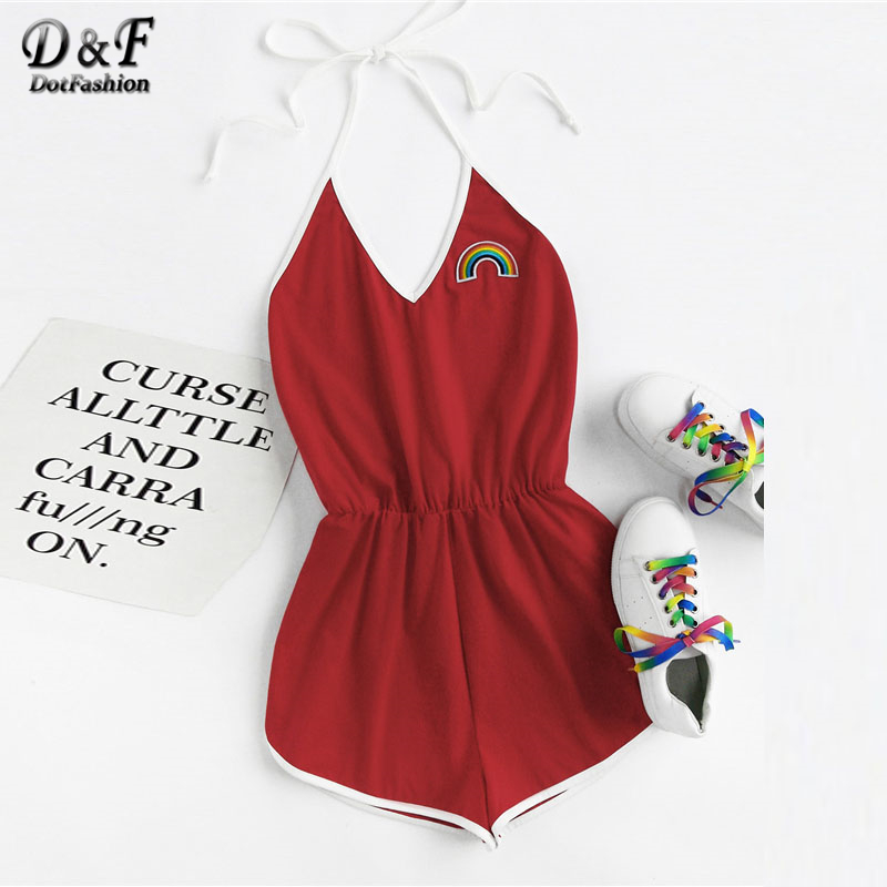 Dotfashion Rainbow Patch Contrast Binding Halter Romper 2018 Spring V neck Embroidery Patched Backle Women Red Sexy Romper