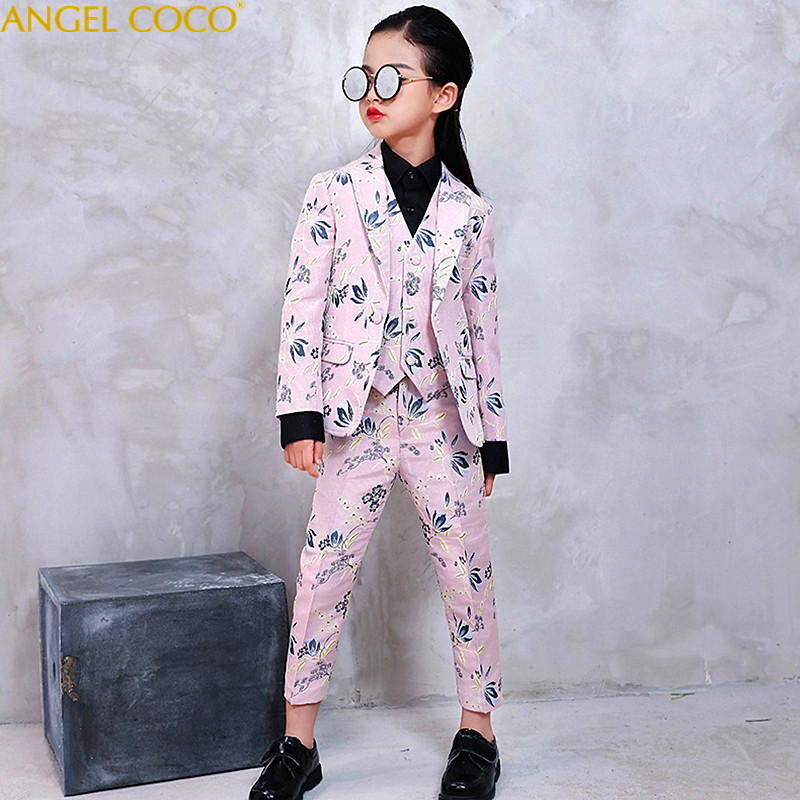 Girl Host Piano Performace Show Suit Costumes Competition Blazer Suits Catwalk Wedding Outfit Girls Boys Suits For Weddings elk print pattern boys clothing blazer catwalk children s piano costumes hosted clothes thick winter boys suits for weddings set