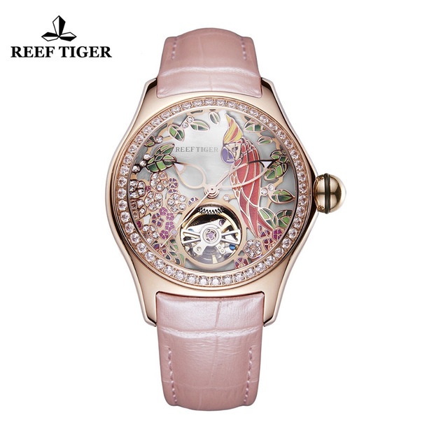 2018 Reef Tiger/RT Womens Luxury Fashion Watches Waterproof Watches Diamonds Pink Dial Automatic Tourbillon Watches RGA7105