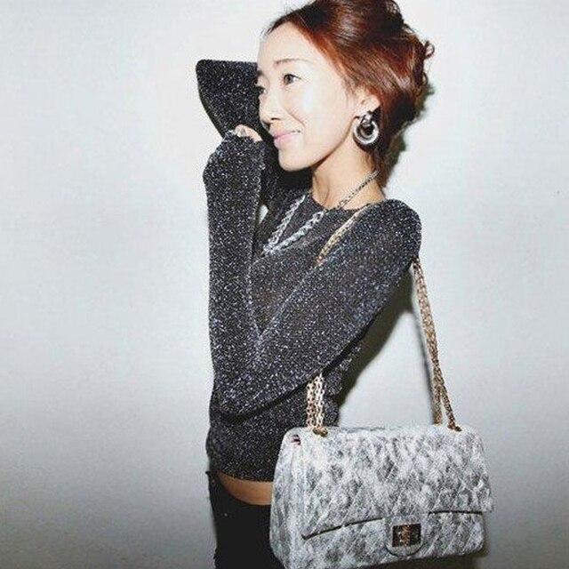 1f49c3d4375d42 Koreaanse zilveren glitter BLING schouder sexy slim shirt met lange mouwen