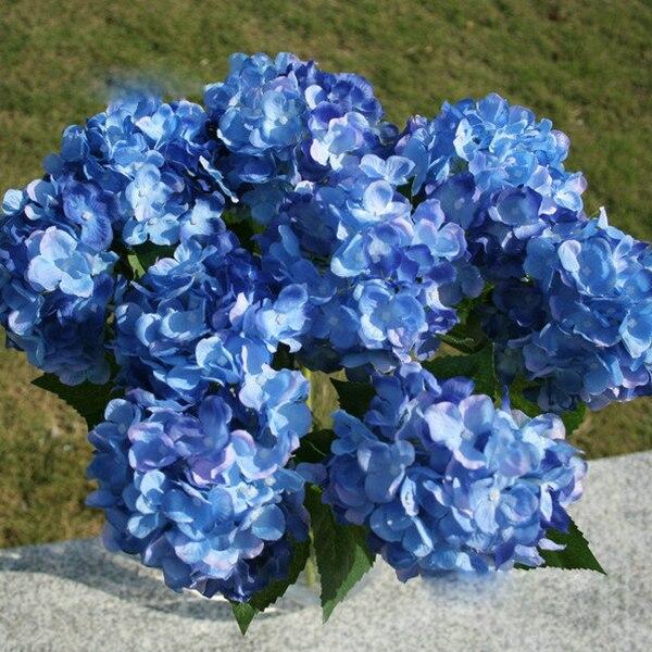 3 pcslot elegant pretty blue single head hydrangea artificial silk 3 pcslot elegant pretty blue single head hydrangea artificial silk floral flowers bouquet hotel mightylinksfo
