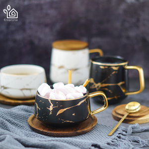 Image 3 - Entertime Nordic Style Marble matte gold series ceramic tea cup coffee mug with wooden lid or tray