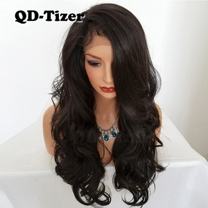 Image 4 - QD Tizer Natural Hairline Glueless High Temperature Fiber Hair Wigs Swiss Long Wavy 4# Brown Synthetic Lace Front Wig for Women