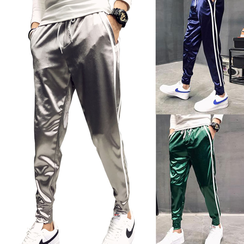Hip Pop Bling Soft Men Jogger Pants Red Blue Green Silver Side Stripe Slim Fit Satin Silk Feel