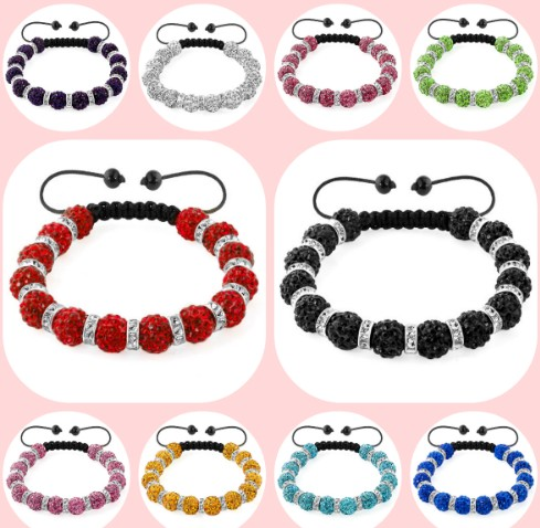 10 mm Mixed Colours Options white black mix Crystal crystal Bracelets Gifts new Bangles spacer For women men lot