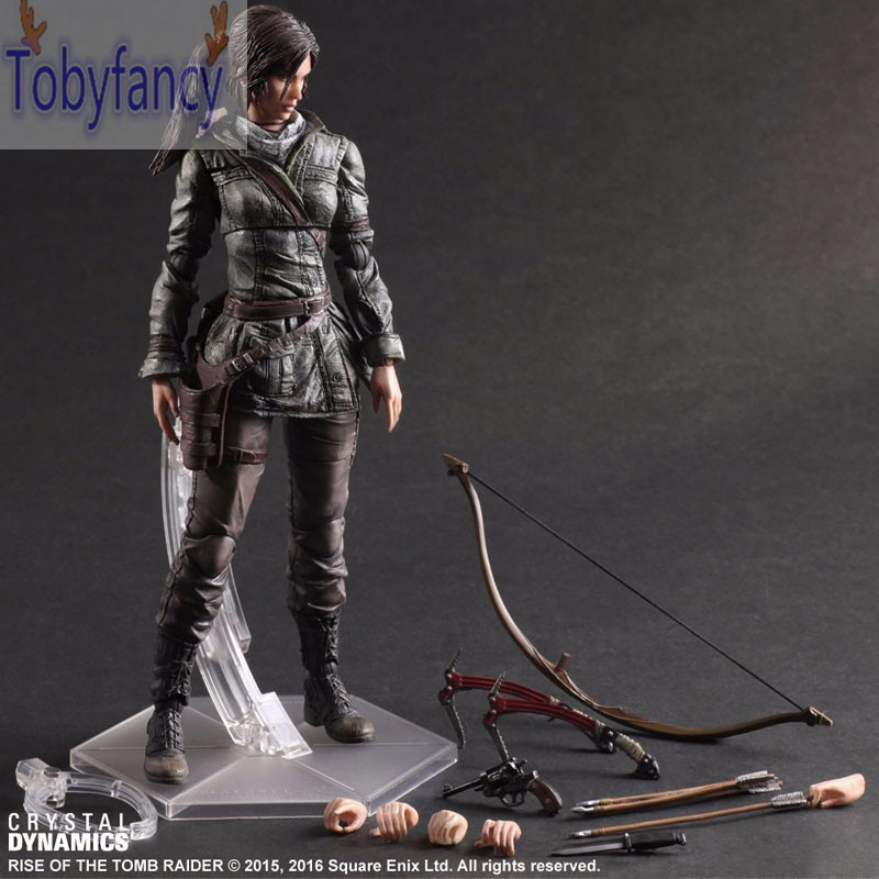The Tomb Raider Action Figure Lara Croft Play Arts Kai Toys PVC 280mm Anime Toys Rise of The Tomb Raider Playarts Lara Tobyfancy the tomb raider lara croft play arts kai action figure toys pvc 260mm anime toy rise of the tomb raider playarts lara