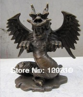00906 Classical Bronze Carvings Winged Chinese Dragon Statue